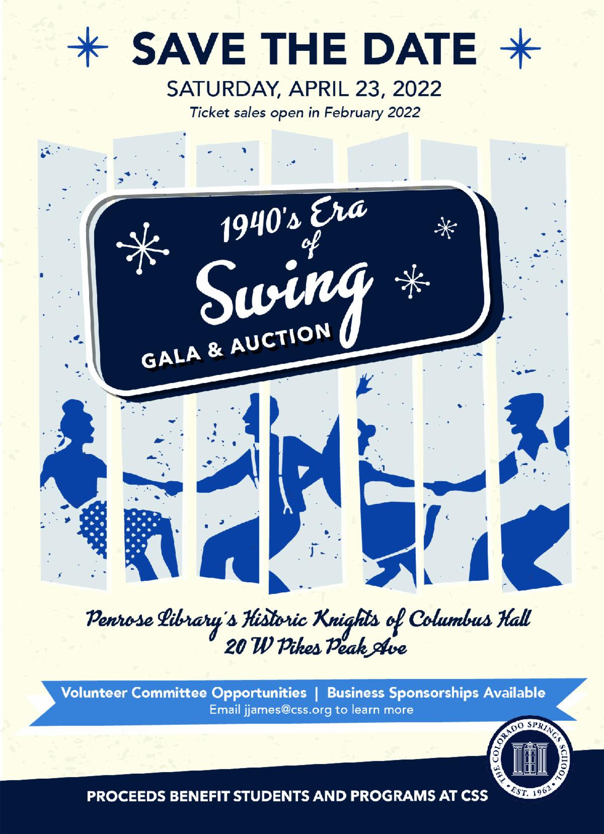 Save the Date: 1940s Era of Swing Gala & Auction – April 23, 2022