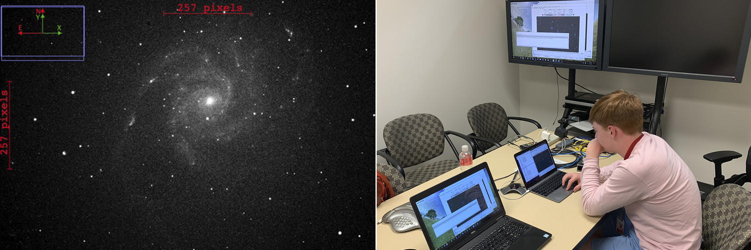 Jaime B. '19 immersed in exploratory studies in astronomy. On the left is a phot